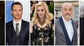 El actor Michael Fassbender, la cantante Madonna y el diseñador Christian Louboutin
