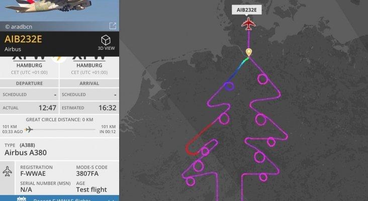 Árbol de Navidad dibujado por Airbus sobre Alemania