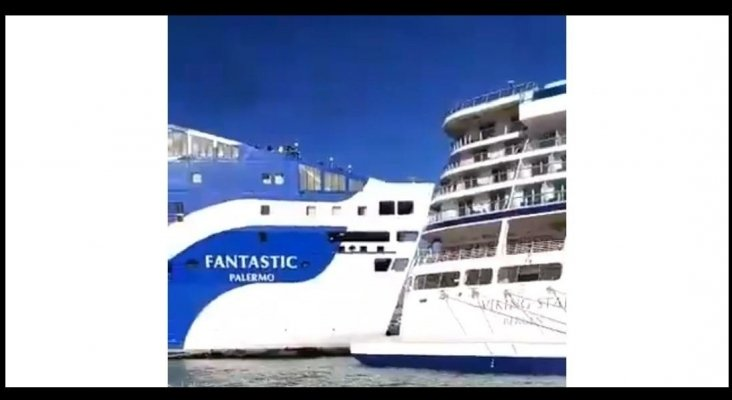 Colisionan un crucero y un ferry en el puerto de Barcelona