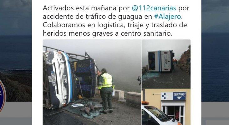 Turistas heridos tras un accidente de autobús en La Gomera