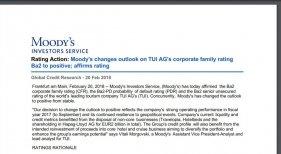 Moody's eleva la calificación de TUI Group