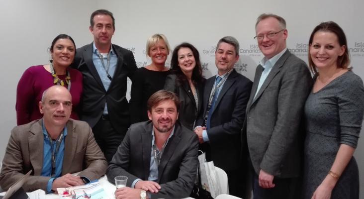 Alberto Bernabé, consejero de Turismo del Cabildo de Tenerife y Vicente Dorta, consejero delegado de Turismo de Tenerife, en una reunión de ITB con TUI