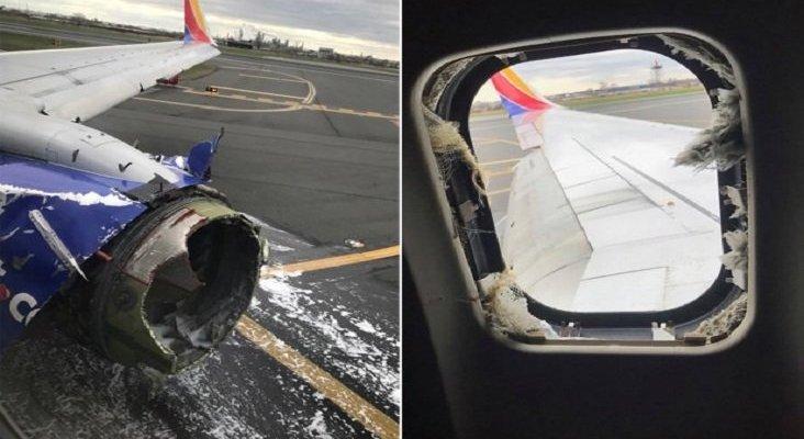 Explosión del motor de un avión, destruye ventanilla y succiona a una pasajera