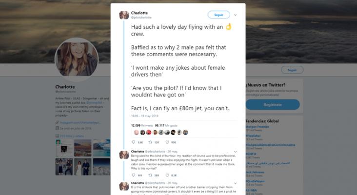 Los tweets de una piloto de EasyJet se viralizan al contestar a una 'broma' sexista