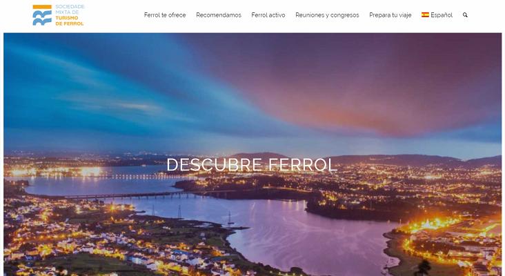 Ferrol lanza una nueva web de promoción turística Foto: página de portada de la nueva web turística de Ferrol