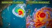 Mangkhut, la tormenta más fuerte de 2018 que amenaza Filipinas|Foto: Comparativa entre el huracán Florence y el tifón Mangkhut- CNN