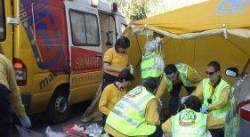 El Samur atendiendo a los heridos a pie de obra   Foto: Diario de Madrid (CC BY 4.0)
