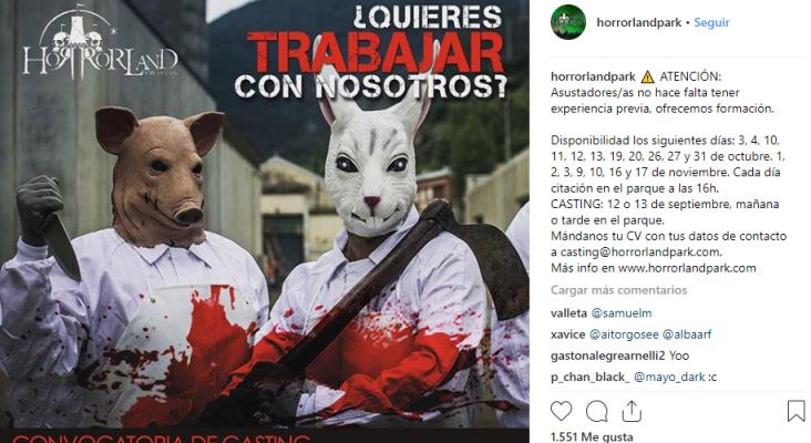 """Se buscan 140 """"asustadores"""" para la temporada de Halloween Foto: Horrolandpark vía Instagram"""