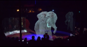 Circus Roncalli exhibe a sus animales holográficos|Fotograma del vídeo 'Optoma impresses audiences with a holographic circus experience'
