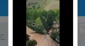 La gota fría daña los emblemáticos baños árabes de Ronda|Foto: Momento en el que se derriba el muro y posteriormente tres árboles- Twitter Ayuntamiento de Ronda