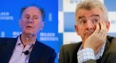 Accionista exige dimisiones en la cúpula de Ryanair|Foto: David Bonderman (izq.) y Michael O'Leary vía Time y The Irish Times