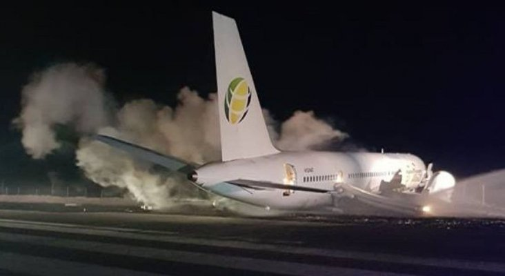 Seis heridos después de aterrizaje accidentado de Boeing 757|Foto: Cheddi Jagan International Airport