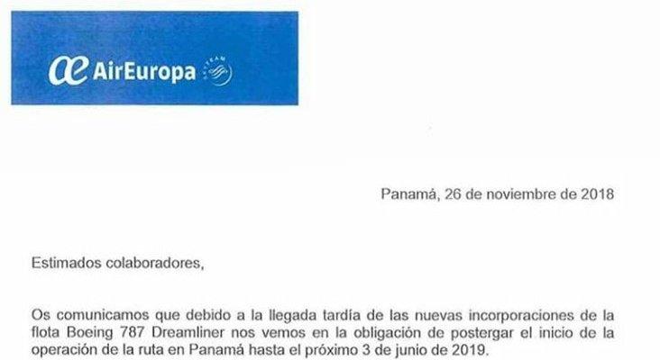 Air Europa retrasa el lanzamiento de su conexión Panamá-Madrid
