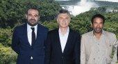 De izq. a dcha.: Gabriel Escarrer Jaume, vicepresidente ejecutivo y director general de Meliá; Mauricio Macri, presidente de Argentina; y Ali Albwardy, Director General de Albwardy Investments