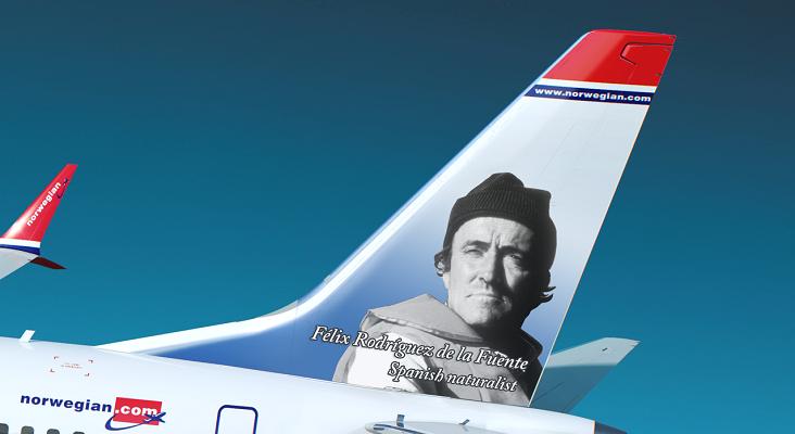 El avión de Norwegian con uno de los homenajeados Félix Rodríguez de la Fuente