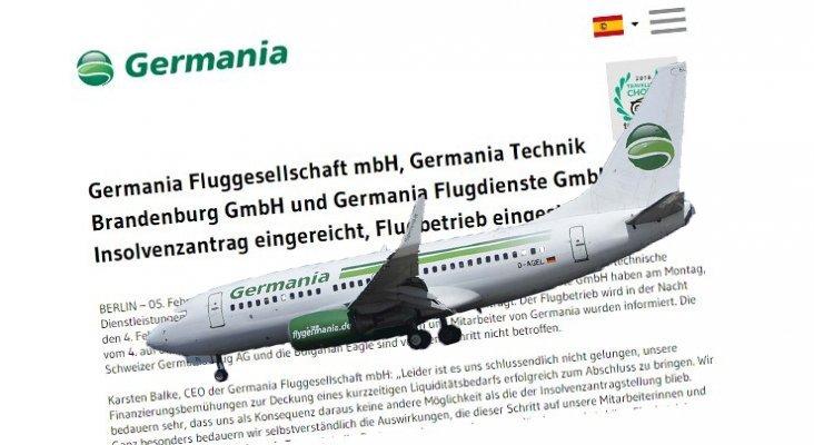 La aerolínea Germania se declara en quiebra