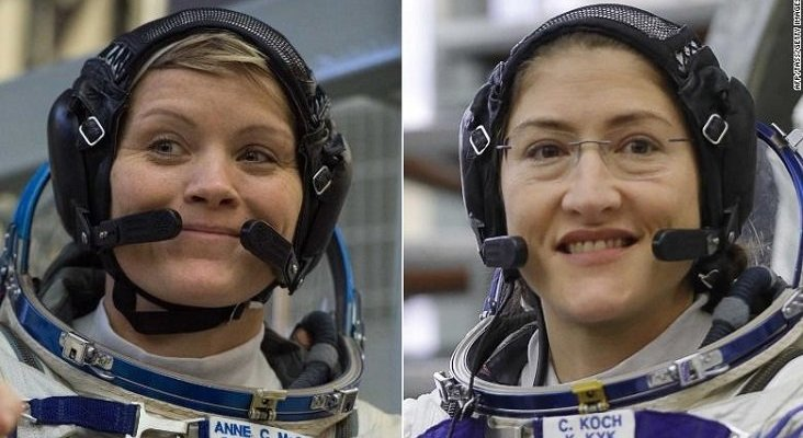 Llega la primera caminata espacial realizada solo por mujeres | Foto: Anne McClain (izq.) y Christina H. Koch - CNN