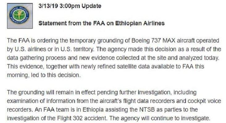 Apagón total del Boeing 737 MAX, Estados Unidos los deja en tierra