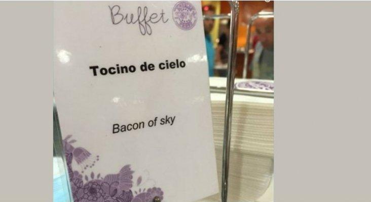 El divertido error de traducción en un buffet