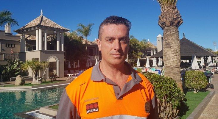 José Juan Ortega, vigilante que salvó la vida de turista en hotel Marylanza Suites & Spa de Arona