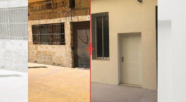 La transformación de locales comerciales en pisos turísticos triunfa en Málaga| Foto: El antes y el después de un local comercial convertido en vivienda- Sur