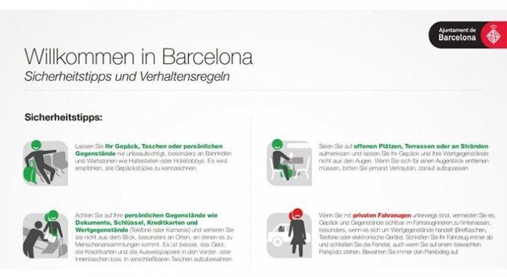 Las agencias de viajes alemanas distribuyen folletos sobre la inseguridad en Barcelona