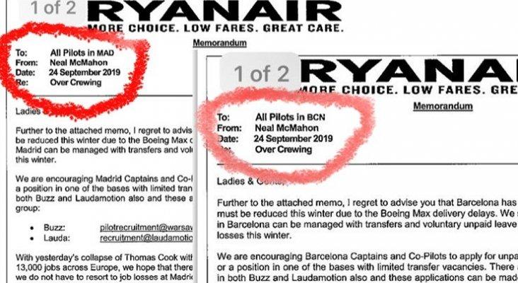 Ryanair se deshace de pilotos en Madrid y Barcelona