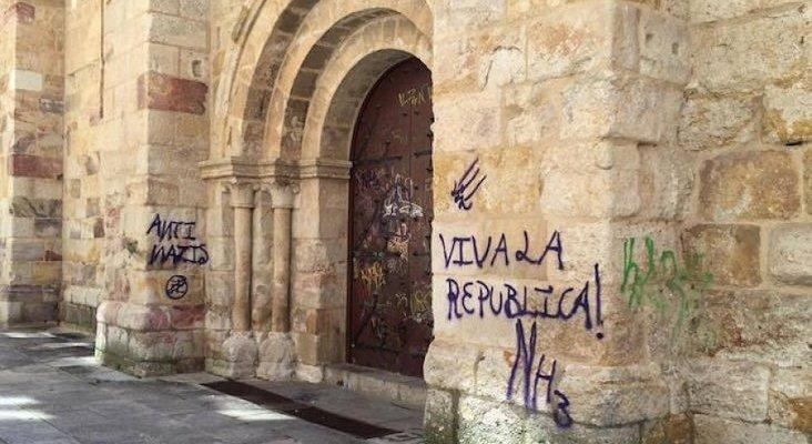 Los vándalos se ceban con el patrimonio artístico de Zamora   Foto: Ataque vandálico a la iglesia de San Esteban en 2016 vía zamora24horas.com