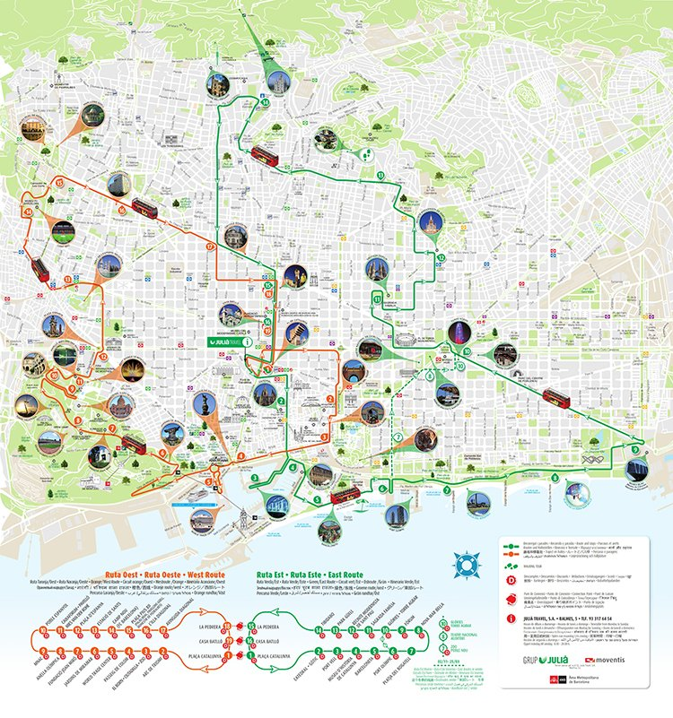Mapa de rutas de Barcelona City Tour