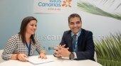 Canarias recupera su conectividad aérea | Foto: Yaiza Castilla, consejera de Turismo, Industria y Comercio del Gobierno de Canarias, y Carlos Gómez, CEO de Iberia Express
