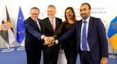Eduardo de Castro (presidente de Melilla), Francina Armengol (presidenta de Baleares), Ángel Víctor Torres (presidente de Canarias) y Bharat Bhagwandas (director general de Fomento de Ceuta)