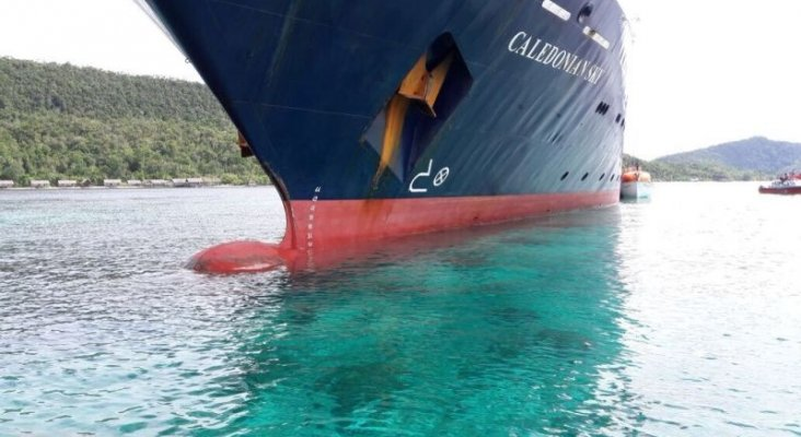 El crucero encalló y arrasó con los arrecifes de coral