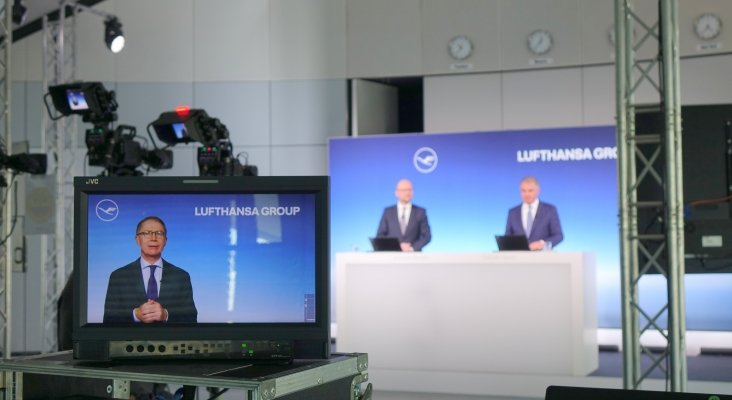 Lufthansa solo deja en el aire 63 de sus 763 aviones, anuncio en la conferencia de prensa