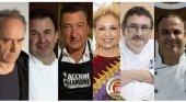 De izq. a dch. los chefs Ferrán Adriá; Martín Berasategui; Joan Roca; Susi Díaz; Andoni Luis Aduriz; y Ángel León