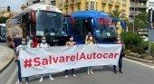 Traslados y excursiones turísticas, así como viajes terrestres del Imserso, al borde del abismo|Foto: Direbús: protestas en Alicante