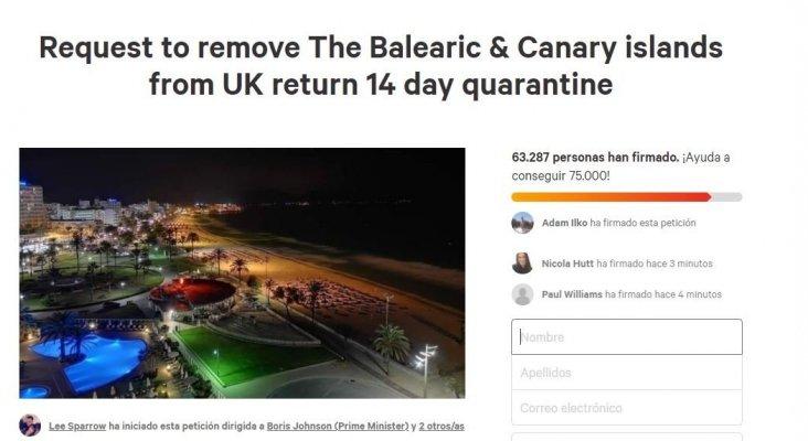 Más de 60.000 firmas en change.org para que Baleares y Canarias se libren de la cuarentena