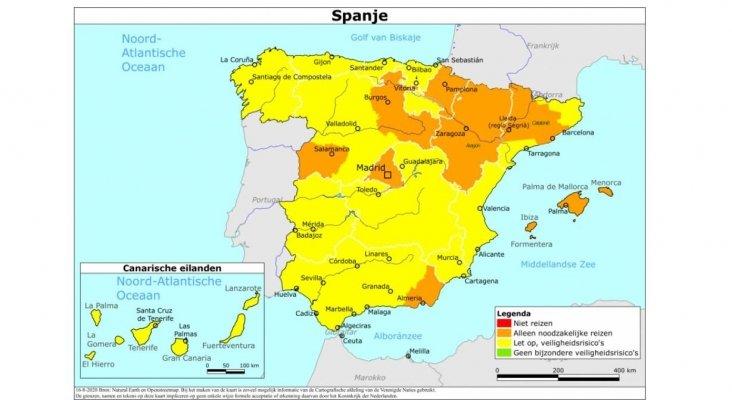 Mapa de clasificación por color de España aplicado por Países Bajos hasta el 24 de agosto