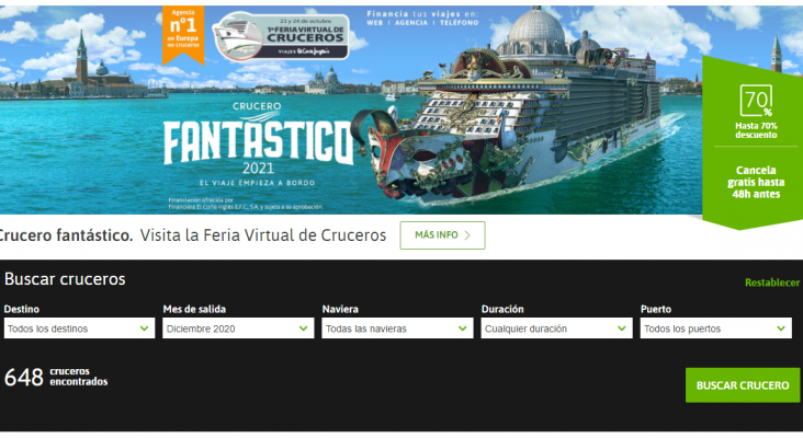 Viajes El Corte Inglés organiza la I Feria Virtual de Cruceros