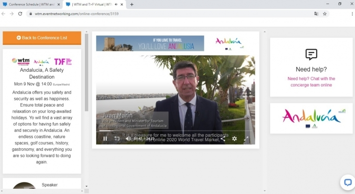 Juan Marín durante la inauguración WTM Virtual 2020