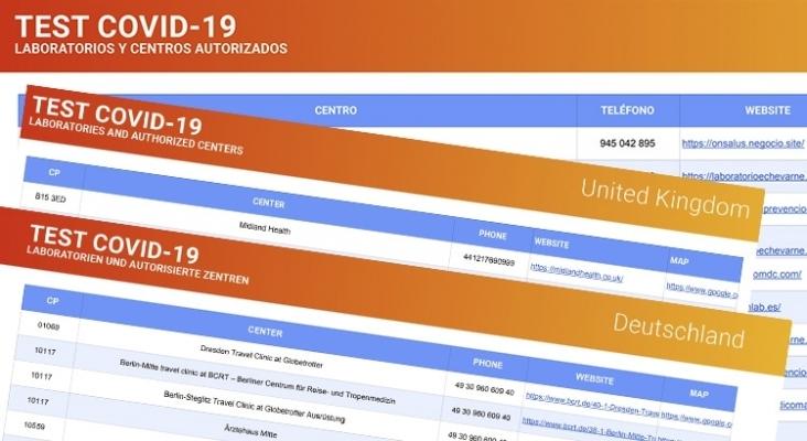Turismo de Canarias publica un listado de centros autorizados para test Covid en 7 países