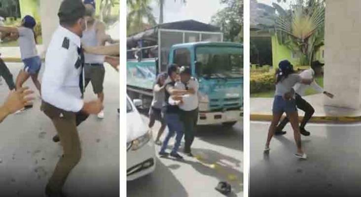 Altercado entre turistas y personal de seguridad a las puertas de un hotel Barceló en R. Dominicana