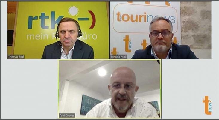Encuentro entre Toni Chaves (Asociación Hotelera de Riviera Maya), Thomas Bosl (rtk y QTA) e  Ignacio Moll (Tourinews)