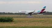 Un avión de Eurowings pierde una pieza que cubría su motor izquierdo durante un vuelo a Mallorca