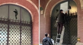 """Destrozan vidrieras """"históricas y patrimoniales durante los disturbios en Barcelona  Foto Scherzo"""