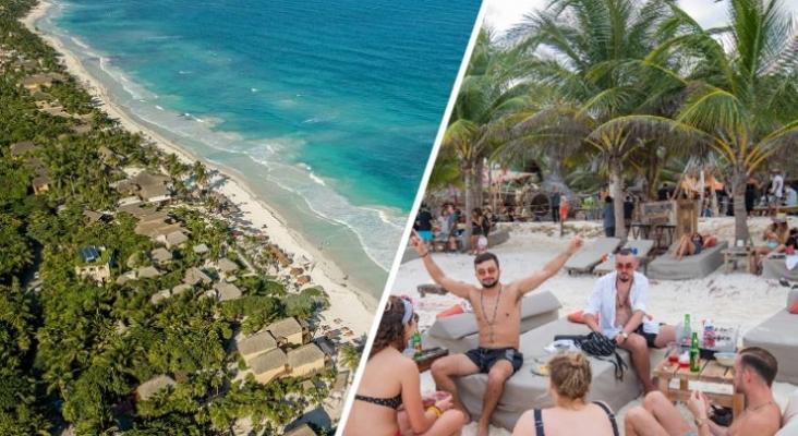 Los empresarios hoteleros de Tulum (México) rechazan el 'turismo de borrachera'. A la derecha, foto de viciousmagazine.com