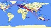 Los vuelos que desplazan el centro del mundo