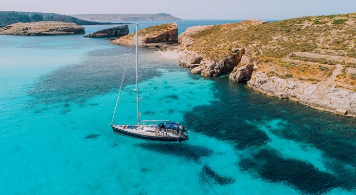 Vista aérea de Blue Lagoon en la isla maltesa de Comino | Foto: Visit Malta