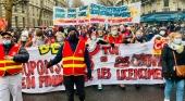 Trabajadores de TUI France en una manifestación | Foto: CGT TUI France vía Facebook