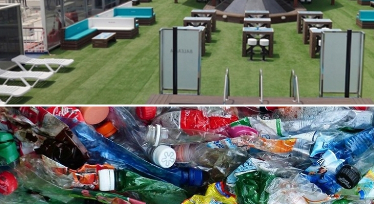 Baleària y el agua Cabreiroá convierten 7 toneladas de plástico en mobiliario para barcos
