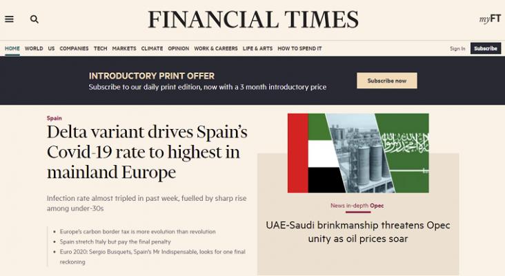 La prensa internacional se hace eco de la subida exponencial de contagios en España | Imagen: Portada del Financial Times